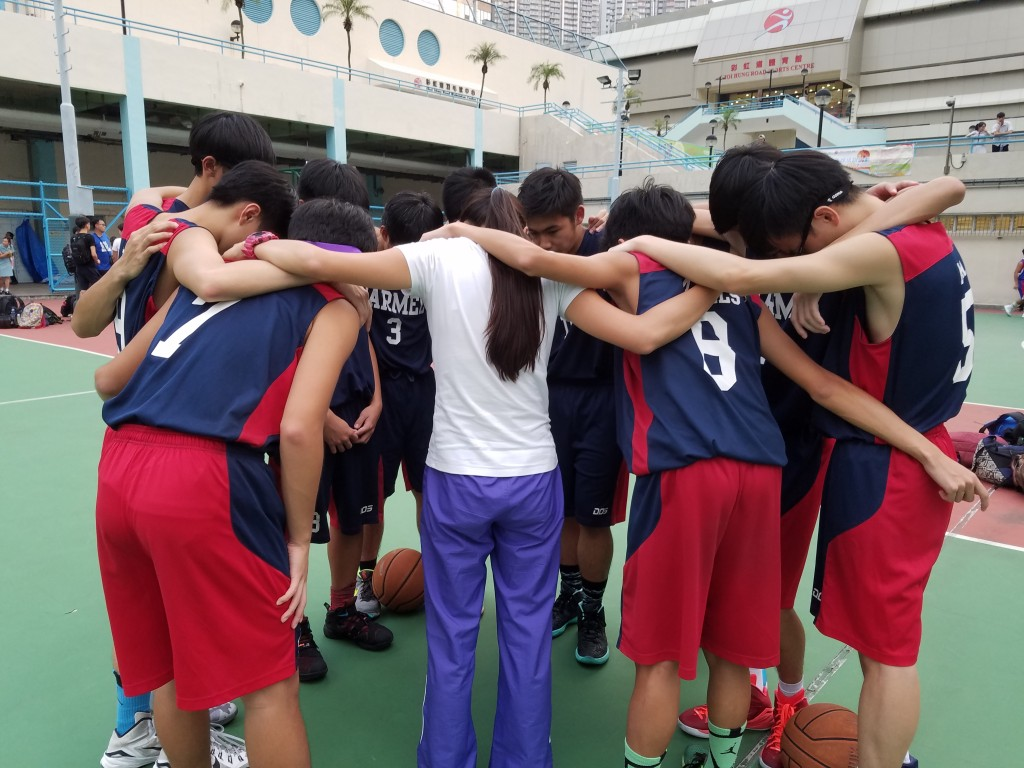 Pray before Inter-School Basketball Competition