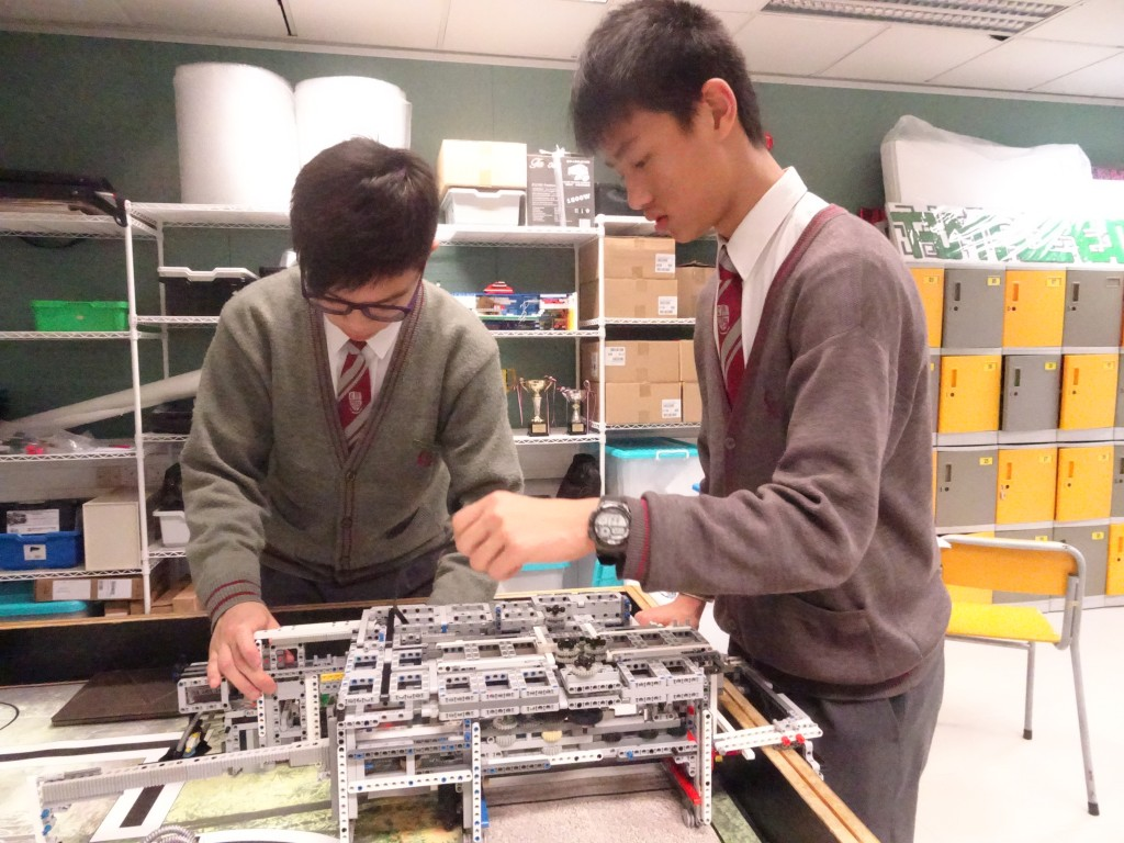 Students working on the robot